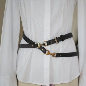 Multi-Wrap Black Leather Belt with Gold Details